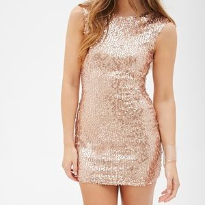 F21 rose gold sequin sheath bodycon dress size xs